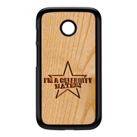 Carved on Wood Effect_Celebrity Hater Black Hard Plastic Case for Moto E by Chargrilled