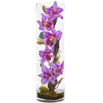 20'' Cattleya Orchid Artificial Floral Arrangement in Cylinder Vase