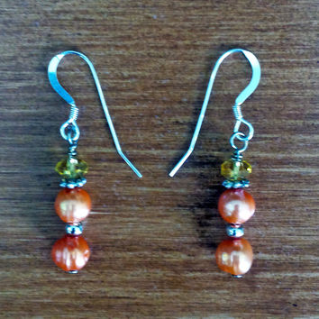 Peach Two Stone Drop Earrings