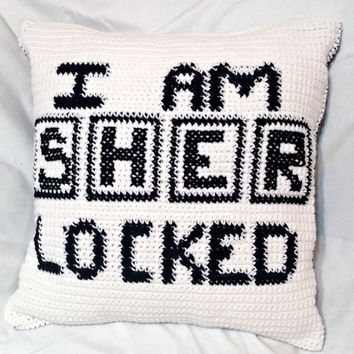 Sherlock Holmes Crochet Pillow (Insert Included), Crochet Pillow, Sherlocked Crochet, Throw Pillow, Sherlock Crochet Cushion, 18 in pillow