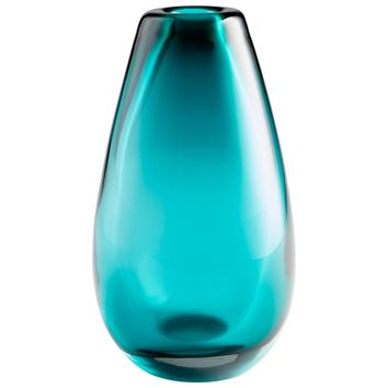 Blown Ocean Large Cerulean Blue Art Glass Vase by Cyan Design