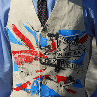SEX PISTOLS Waistcoat Hand Screenprinted Beige by ThePirates
