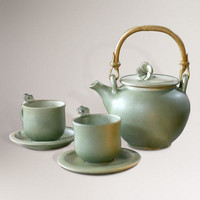 Novica Frangipani Garden Ceramic Tea Service Set - World Market