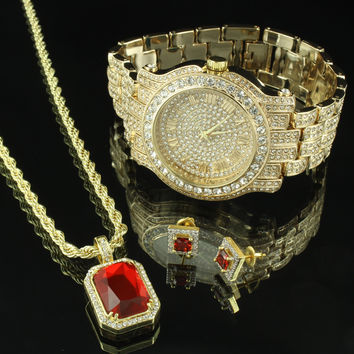 Men Hip Hop Iced Out Rick Ross Watch & Ruby CZ Necklace Pendant & Earrings Set