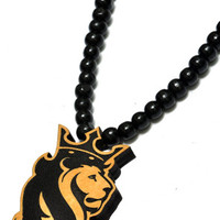 Profile King Lion Wood Pendant