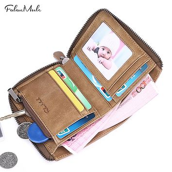 New Small Coin Purse Short Men Wallets Genuine Leather Men Purse Billfold Zipper Purse Fashion Men Leather Wallet