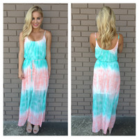 Pink & Green Tie Dye Maxi Dress