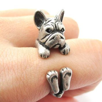 Realistic French Bulldog Dog Shaped Animal Wrap Around Ring in Silver | US Sizes 4 to 8.5