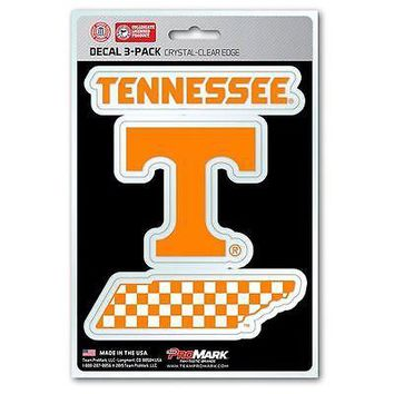 Tennessee Volunteers Auto Decal NCAA Team Sticker Pack of 3