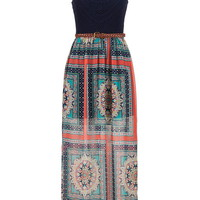 Crochet Top Chiffon Maxi Dress - Multi