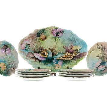 Guerin Limoges France Antique Sea Shell Dessert or Appetizer Set with Platter 10 Plates Hand Painted Signed by Artist Collectible