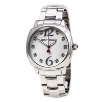Betsey Johnson BJ00427-01 Women's Crystal Accented White MOP Dial Steel Bracelet Watch