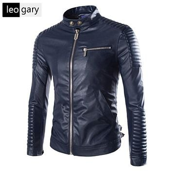 European Style Fashion Winter Zipper Motorcycle Leather Jackets Men Outwear Casual Slim Solid PU Men Jacket Coat 3 Colors M-XXL