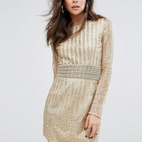 PrettyLittleThing Premium All Over Embellished Bodycon Dress at asos.com