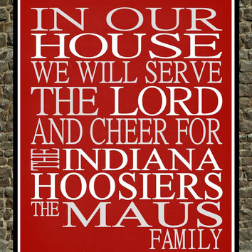 Customized Name Indiana Hoosiers NCAA Basketball personalized family print poster Christian gift sports wall art - multiple sizes