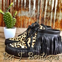 Black Leather Leopard Moccasins