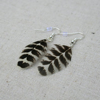 Black and white feather earrings- Feather jewellery
