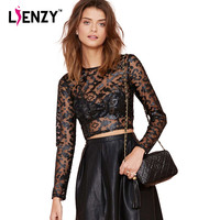LIENZY 2016 PU Printed Lace Long Sleeve Leather Crop Top O Neck Sexy Mesh Black Short Sleeve Sexy Women Tshirt And Pullovers