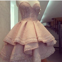 Fashion Pink Seweetheart Beaded Sleeveless Tiered Lace Short Front Long Back Prom Dresses
