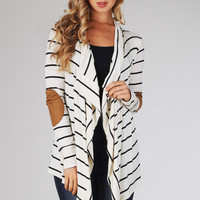 White Black Striped Suede Elbow Patch Cardigan