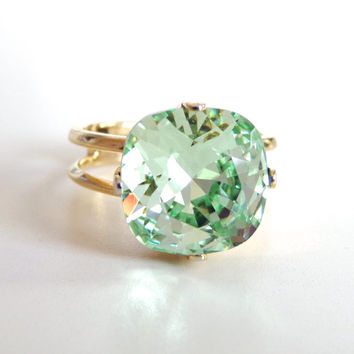 Mint Crystal Cocktail Ring - Light Green Crystal - Cushion Cut Crystal Ring - Chrysolite