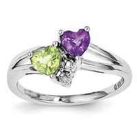 Sterling Silver Amethyst Peridot Double Heart and Diamond Accent Ring