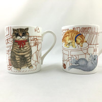 "Vintage Hudson Middleton ""Muggies"" Cat Mugs Fine Bone China Made in England Adorable Cat Coffee Cups Set of 2 Collectible Cat Mugs"