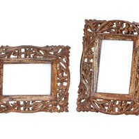 "Mothers Day Gift Ideas - SouvNear ""Olde Worlde Art"" Wood Picture Frame for 4x6 Photos - Vintage Look Hand-Carved Lattice Work Wooden Photo Frame for Horizontal / Vertical Pictures - Tabletop Decor"