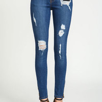 Shredded Mid Rise Skinny Jeans - LoveCulture