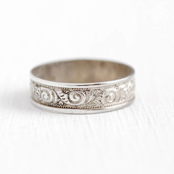 Sterling Silver Ring - Vintage Swirl Eternity Cigar Band - Size 3 3/4 Retro 1950s Milgrain Leaf 6 MM Stacking Pinky Petite 50s Jewelry