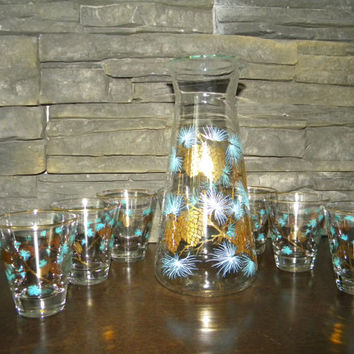 Decanter, Retro David Douglas, Gold Pine Cone & Turquoise Thistle, Carafe and 7 Rock/Old Fashion Glasses-Minty