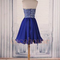 Dark Royal Blue Beaded Prom Dresses, Short Bridesmaid Dresses, Party Dresses ,Hot Homecoming Dress ,Evening Dress, Wedding Party Dress