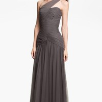 Women's ML Monique Lhuillier Bridesmaids Pleated One-Shoulder Tulle Trumpet Gown,