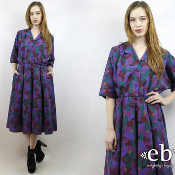 Vintage 80s Purple Graphic Midi Dress S M Day Dress Work Dress Graphic Dress Purple Dress Shirtdress