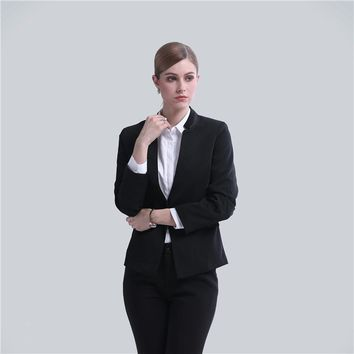 ladies business suit  professional office uniforms for women blazer and pants set 2017 ladies business suits