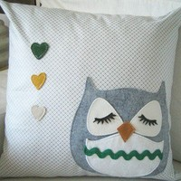 Chewy the Owl Cute Vintage Inspired Light Grey Japanese by Cuore
