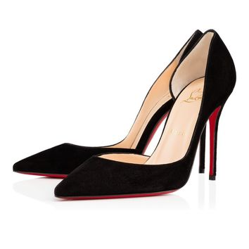 Christian Louboutin Cl Iriza Black Suede 100mm Stiletto Heel Classic