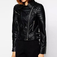 Black Printed Zipper Fall Faux Leather Jacket