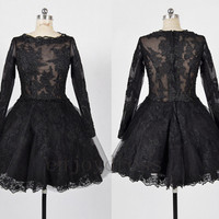 Custom ZuHAI Murad Short Black Lace Applique Wedding Dress Long Sleeves Sexy Bridal Gown Homecoming Dress Wedding Party Dress Party Gown