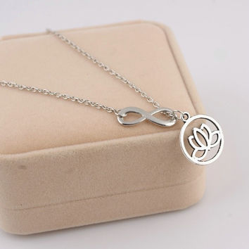 Lotus Flower Infinity Necklace