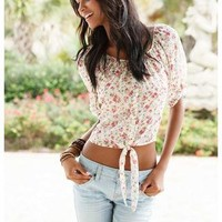 FLORAL CRINKLE CHIFFON TIE FRONT TOP