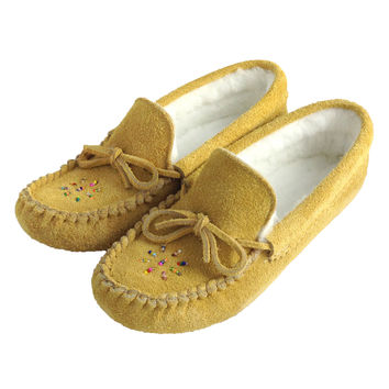 Women's Soft-Sole Moosehide Suede Moccasins