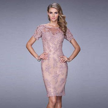 2016 Knee Length Lace Cocktail Dresses with Sleeves Modest Elegant Chic Women robe de Cocktail Party Dress vestidos de coctel