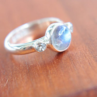 Moonstone & White Topaz Ring Sterling Silver Moonstone Engagement Ring Topaz Promise Ring Silversmithed Metalsmithed