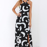I. Madeline Be So Bold Ivory and Black Print Maxi Dress