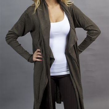 Miilla Asymmetrical Hoody Tie Jacket Wrap in Brown