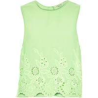 River Island Womens Bright green crepe embroidered hem tank top