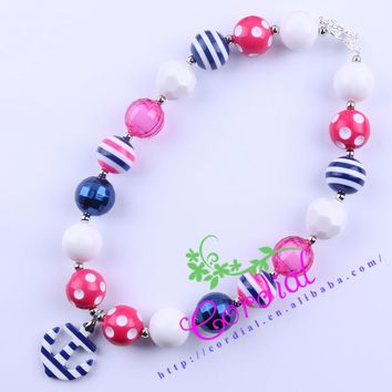 Free Shipping 2Pcs/Lot Fashion Jewelry Kids Chunky Bubblegum Necklace Navy Blue Anchor Pendant Necklace For Summer CDNL-410606