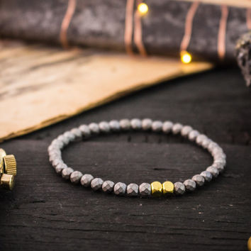 4mm - Faceted matte hematite beaded stretchy bracelet with gold beads, yoga bracelet, mens beaded bracelet, mens bracelet, womens bracelet