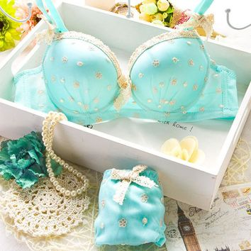 Bra All-match High Quality Solid Color Girl Intimates Floral Print Cotton Womens Bra Underwear Set Breasted Lace Women Bras Sets